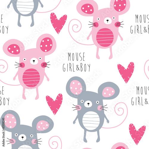 Tapeta seamless mouse love pattern vector illustration
