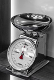 silver kitchen scales with a red arrow on the shelf