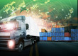 Detaily fotografie container truck ,ship in port and freight cargo plane in transpo