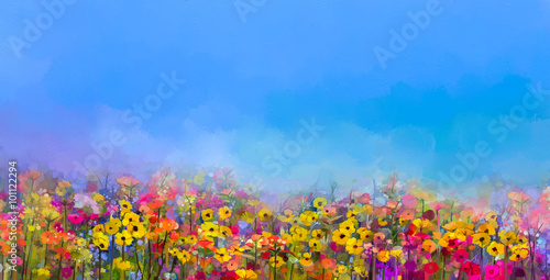 Panel Szklany Abstract art oil painting of summer-spring flowers. Cornflower, daisy flower in fields. Meadow landscape with wildflower, Purple-blue Sky color background. Hand Paint floral Impressionist style