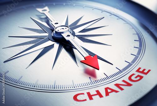 Leinwandbild Motiv Silbergrauer Kompass Change