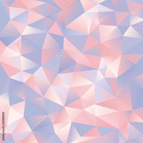 abstract light blue and pink paper triangles design background Poster
