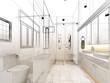 abstract sketch design of interior bathroom