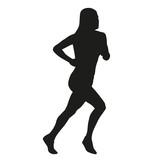 Pole vault silhouette. Running man