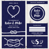 Wedding Invitation Card Templates in Nautical Style