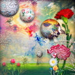Obrazy na płótnie, fototapety, zdjęcia, fotoobrazy drukowane : Green field with tulips and carnations flowers