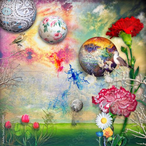 Zdjęcia na płótnie, fototapety, obrazy : Green field with tulips and carnations flowers