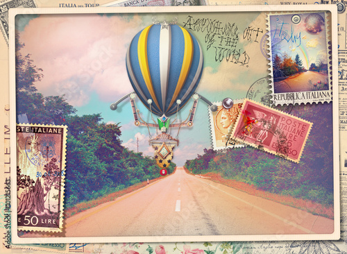 Staande foto Imagination Vintage postcard with avenue,hot air balloon and old stamps