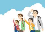家族 空を見上げる ピクニック 行楽 an excursion