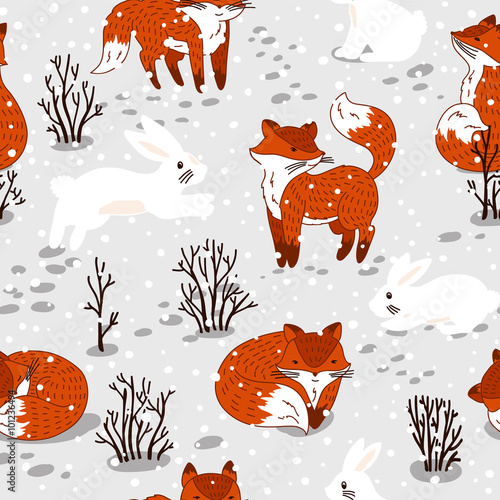 Cotton fabric Seamless pattern with cute foxes and bunny. Winter illustration