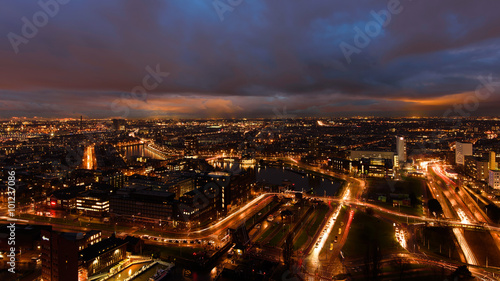 Foto op Plexiglas Kiev Rotterdam at twilight as seen from the Euromast tower, The Netherlands