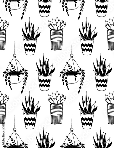 Black and white cartoon cactus pattern. Hand drawn succulent ornament. - 101239462