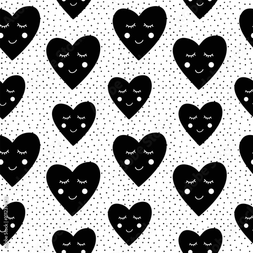 Cotton fabric Valentines day seamless pattern with hearts.