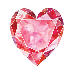 Watercolor illustration of heart in the form of a diamond. vector element for your design. Can be used for wedding invitation, card for Valentine's Day or card about love