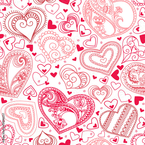 Cotton fabric Seamless wallpaper with hand drawn hearts