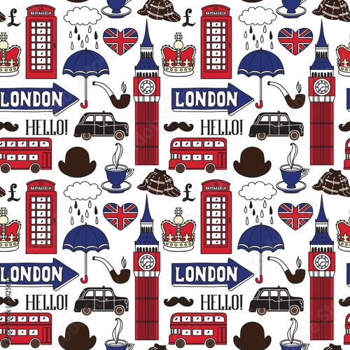 Tapeta Vector pattern with London symbols and landmarks
