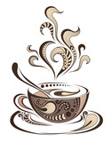 Patterned colored cap of coffee. Batik/tattoo design. It may be used for design of a t-shirt, bag, postcard and menu. Vector
