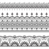 Indian, Mehndi Henna three line lace elements pattern for tattoo on white background