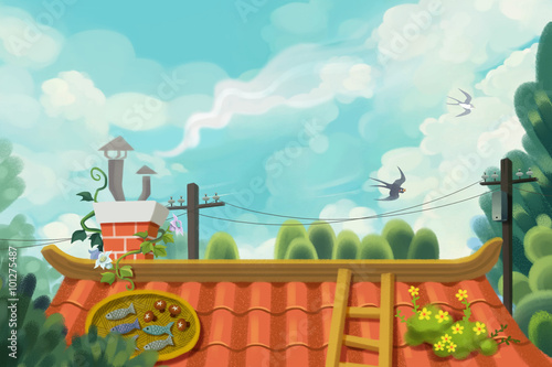 Illustration: Memory of Childhood Roof. Clearing Sky. Swallow Fly Past. Green Tree. Everyone want to Go Back there for a While. Realistic Fantastic Cartoon Style Scene / Wallpaper / Background Design. - 101275487