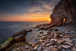 The secret door. Amazing view with the last sun rays at a rocky Black Sea coast, Bulgaria.