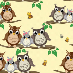 Owl seamless pattern. Background with cute owls on the branch. Can be used for Cloth design, wallpaper, wrapping. Vector illustration.