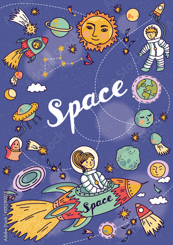 Fototapeta Space banner with planets, rockets, astronaut and stars. Childish background. Hand drawn vector illustration.