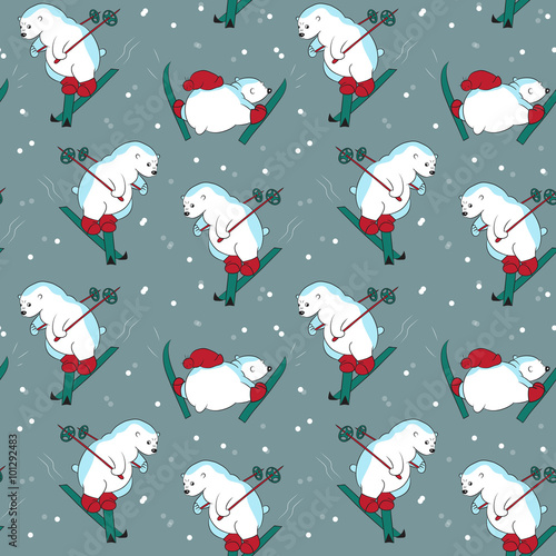 Materiał do szycia Seamless pattern with different funny polar bears skiing