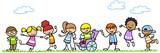 Fototapety Aktive und behinderte Kinder spielen in der Natur