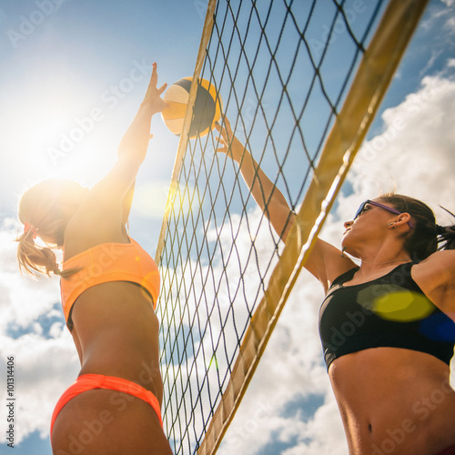 Sunny beach volleyball game
