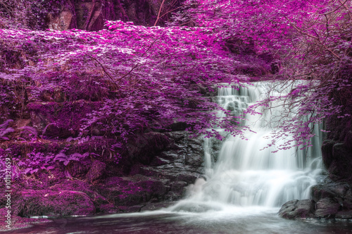 Beautiful alternate colored surreal waterfall landscape