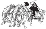 grim reaper in a cart harnessed by two horses