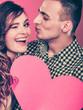 Obrazy na płótnie, fototapety, zdjęcia, fotoobrazy drukowane : Man and happy blinking woman. Love concept.