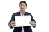 indian business male presenting tablet