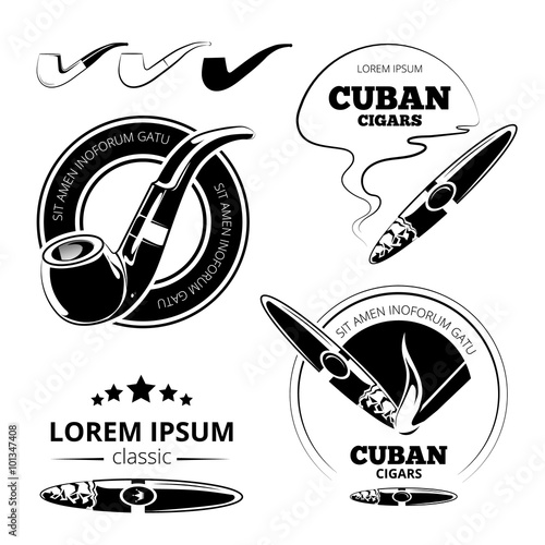 Tobacco leaves, cigars and hookah labels vector set  Cuban