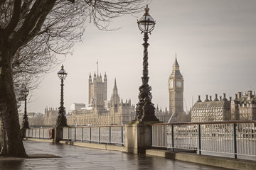 Early in the morning in central London with Big Ben and Houses of Parliament - vintage version - London, UK