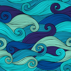 Vector seamless pattern with abstract waves