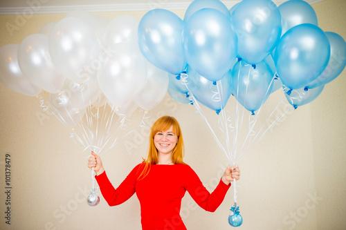 рыжая девушка с воздушными шариками Poster