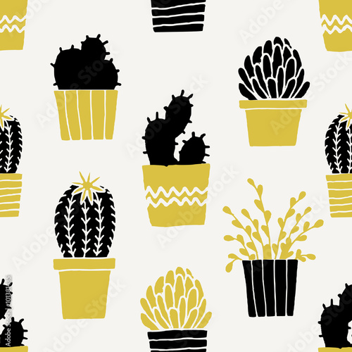 Hand Drawn Cactus Pattern - 101381485