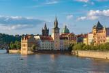 Prague city skyline and Charles Bridge , Czech Republic