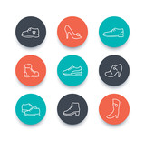 Shoes, heels, women shoes, boots, trainers, line round icons over white, vector illustration