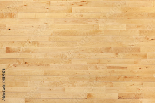 Fotobehang Basketbal Hardwood basketball court floor viewed from above