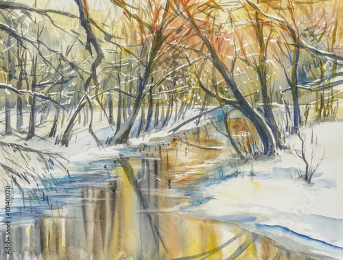 Obraz Watercolor painting of wintera landscape:river in fores during sunset.