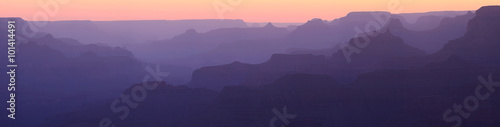 Grand Canyon Sunset Silhouette Panorama