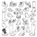 Vector illustration of feminine fall and winter shoes, boots set. Hand-drown footwear sketch. Black and white fashion collection.