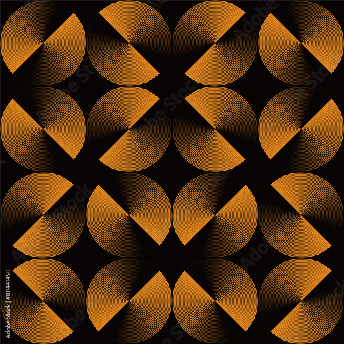 Optical illusion, seamless pattern of glossy gold circles. Vector metallic texture background. Simple to edit, without gradient. - 101441450