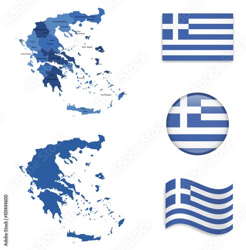 Zdjęcia na płótnie, fototapety, obrazy : High Detailed Map of Greece With Flag Collection