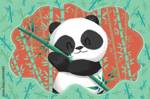 Creative Illustration and Innovative Art: Cute Panda in the Green Bamboo Forest. Realistic Fantastic Cartoon Style Artwork Scene, Wallpaper, Story Background, Card Design