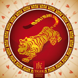 Chinese Zodiac: Golden Tiger Silhouette, Vector Illustration