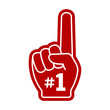 Number 1 (one) fan hand glove with finger raised flat vector icon