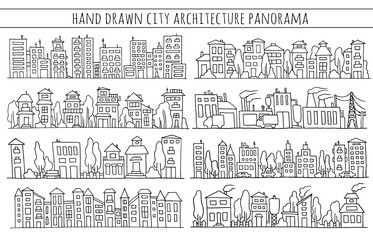 Sketch big city architecture with houses, factory, trees, cars. Panorama set of streets in a row. Hand-drawn vector illustration isolated on white and organized in groups for easy editing.